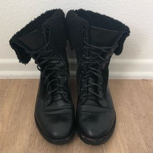 New Black Combat Boots by Via Spiga, wool lining